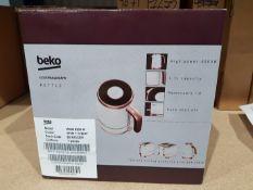 Ten boxed unused Beko cosmopolis retro jug kettles, 1.7 litre capacity, white and rose gold,