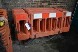 Ten Hinged Panel Plastic Barriers, each approx. 2m long overall