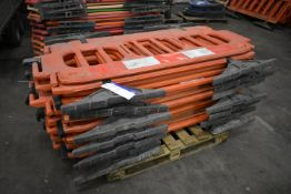 Approx. 16 Melba Products Plastic Barriers, each approx. 1.9m long
