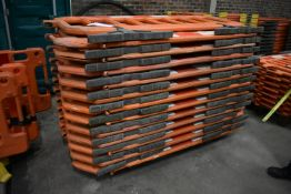 Approx. 23 Melba Products Plastic Barriers, each approx. 1.9m long