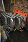 Approx. 22 Galvanised Steel Barriers, up to approx. 2.1m wide, with plastic barriers against wall