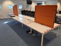 Eight Station White Steel Framed Double Sided Desk