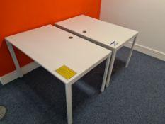 Two Single Station White Steel Framed Desks (Locat