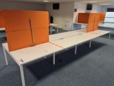 Eight Station White Steel Framed Double-Sided Desk