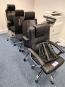 Four Swivel armchairs including one Black leather