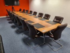 Four section Boardroom Table c/w 17 Black Leather