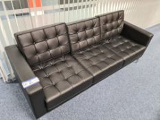 Three-Seater Black Leather Settee (Located at Q2 L