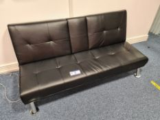 Black Leather settee (Located at Q2 Light Box, Quo