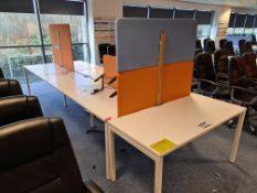 Six Station White Steel Framed Double Sided Desk P
