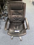 Ten various armchairs, including 5 black leather s