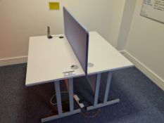 Two Single Station White Steel Framed Desks with S