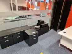 Quantity of various black office furniture, includ