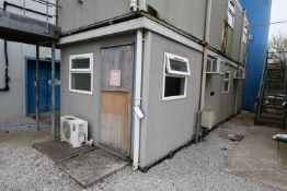 Portable Jackleg Office Building, 9.5m long x 3m wide, with internal partitioning forming toilet,