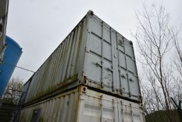Steel Cargo Container (former Stores), 12m long, with steel racking throughout (upper container –