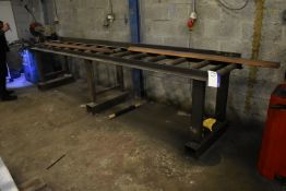 Roller Feed Table, 4m long x 500mm wide on rollers