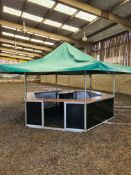 Hexagonal Pavillion / Bar, Steel Framed with Wooden Counter Tops, 3660mm width, 2000mm Counter Tops,