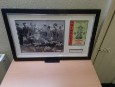 """Signed Framed Photo & Match Programme - FA Cup Final 1965 Leeds v Liverpool (1-2 aet), 30"""" x 18.5"""""""