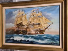 Signed and Framed Oil on Canvas Painting of Naval Battle By Pete Gerald Paker, 67cm x 92cm