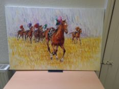 """Signed Oil on Canvas Painting of Frankel, 24"""" x 36"""""""