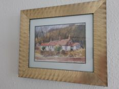 Signed Framed Watercoulour 'Cottage Scene' by Robert Brindley, 32cm x 27cm