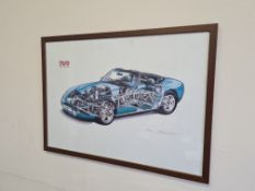 Signed Framed Limited Edition Print of TVR Griffith 4.3lt V8 (12/800) by Myles Talbot, 62cm x 45cm
