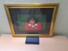 Signed Framed Photo of George Best, 37cm x 47cm