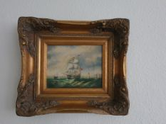 """Signed Framed Oil on Canvas Nautical Scene by Webb (1876), 15"""" x 17.5"""""""