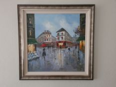 Signed Framed Oil on Canvas Painting of Parisien Street Scene by J Anderson (1827 - 1907), 94cm x
