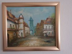 Signed Framed Oil on Canvas of Italian Street Scene by D Stone, 70cm x 60cm