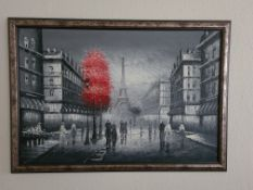 Framed Oil on Canvas Painting of Parisien Street Scene by Kathrine