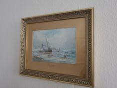 Signed and Titled Framed Watercolour 'Off Whitby' by Anton Smith, 37cm x 45cm