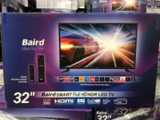 """Ten Boxed Unused Baird 32"""" FULL HD TV's, with buil"""