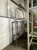 * Mobile Stainless Steel Adjustable Height Feed Trough, overall size approx. 1.54m x 700mm x 3.1m