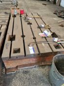 Slotted Steel Machine Bed, approx. 3m x 1.5m (unde