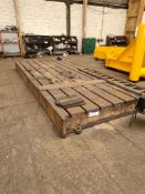 Slotted Steel Machine Bed, approx. 5.7m x 2.5m (un