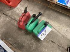 Three Plastic Fuel Cans