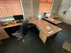 Loose Office Furniture Contents of Room, including desks, pedestals and two chairs. Please read