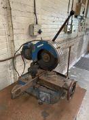 Cold Saw, fitted blade approx. 280mm dia. with steel bench. Please read the following important