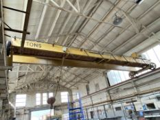 Loughborough 5 ton cap. TWIN GIRDER TRAVELLING OVERHEAD CRANE, approx. 10.6m wide, with power take