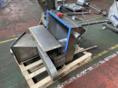 STAINLESS STEEL POWERED SCREEN, with stainless steel discharge hopper and stainless steel infeed