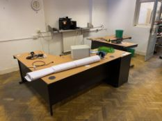 Residual Office Furniture Throughout Room, including desks and multi-drawer pedestal. Please read