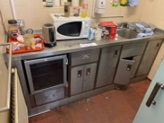 Stainless Steel Counter, in kitchen, with microwave and kettle. Please read the following