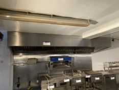 STAINLESS STEEL EXTRACTION HOOD, approx. 3.6m x 1.