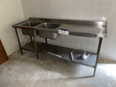 Stainless Steel Twin Sink Unit, approx. 2.15m x 70