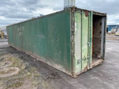 Aluminium Cargo Container, 12m long (slight hole in roof), with fitted racking inside (in yard)