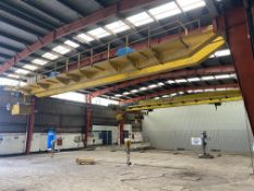 2 X 5T SWL TWIN GIRDER TRAVELLING OVERHEAD CRANE, reference no. CE212, approx. 18m span, with two