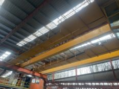 Demag 15T + 15T SWL TWIN GIRDER TRAVELLING OVERHEAD CRANE, serial no. 489487 03 approx. 19m span (