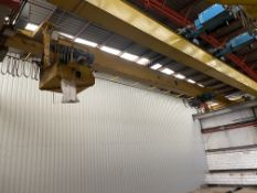 2 X 5T SWL SINGLE GIRDER TRAVELLING OVERHEAD CRANE, crane no. 220, approx. 18m span, with twin