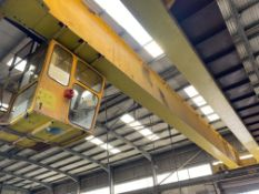2 x 16,000kg SWL TWIN GIRDER TRAVELLING OVERHEAD CRANE, serial no. AP108 (incomplete, no carriages