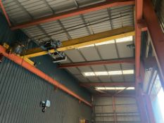 6T SWL DOUBLE GIRDER TRAVELLING OVERHEAD CRANE, approx. 7.4m span, with Demag wire rope hoist,
